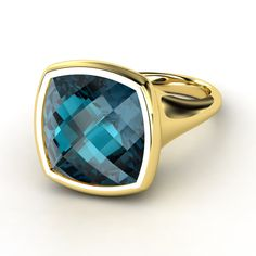 Checkerboard Cushion Pavilion London Blue Topaz 14K Yellow Gold Ring  | Naked Cushion Bezel Ring | Gemvara