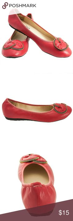 Women Flower Zipper Ballerina Flats, b-1308, Red Brand new Tory Klein gorgeous ballerina flats with an adorable zipper shaped flower buckle in the front. Soft stretchy PU leather, lightly cushioned sole, very comfortable. Bubbled decorated sole for extra traction. Larger sizes run small. Size 8 measures 9.5 inches in length, all half sizes are in 1/4 inch increments of each other. Tory K  Shoes Flats & Loafers