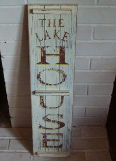 The Lake House Rustic Wood Shutter Sign Primitive Log Cabin Lodge Home Decor   eBay