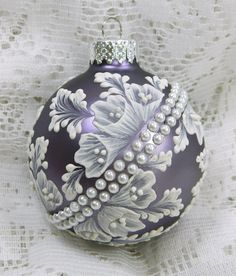 Soft Smoked Purple MUD Ornament with Flowers and Pearl Banding