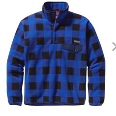 Patagonia Synchilla NWT. Blue buffalo plaid. Men's XS- fits like a women's small. I have added size charts for reference. No trades. Patagonia Sweaters
