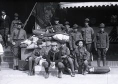1920 photograph of a group of Boy Scouts ready for camp.  (Maine Historical Society)