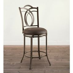 Shop for Oh! Home Khalifah Metal Swivel Counter Stool with Coffee Brown Seat…