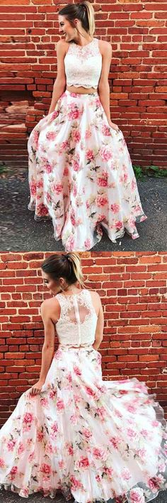 Two Piece Pink Printed Tulle Sleeveless Prom Dress with Appliques P3192