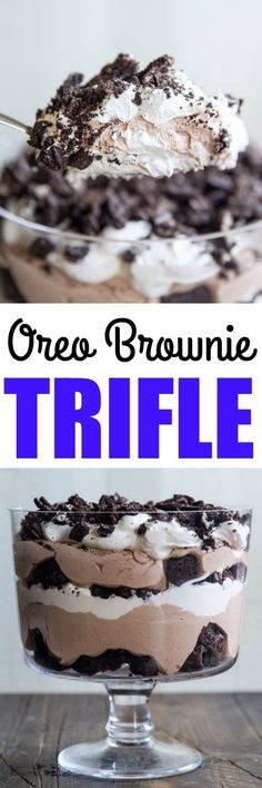 The ultimate chocolate dessert! Layers of brownie pieces, rich chocolate pudding, whipped topping, and crushed Oreos. Swoon!