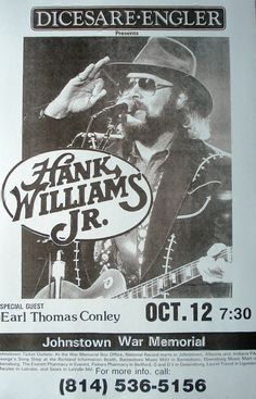 Hank Williams Jr. with Earl Thomas Conley Concert by Innerwallz, $15.00