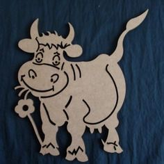 Vache en bois médium découpé au laser
