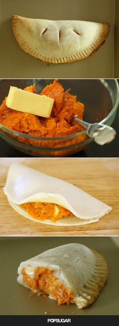 Any true Harry Potter fan knows that pumpkin pasties, a Honeydukes Express snack sold on the Hogwarts Express, are supposed to be like a savory cornish pastie but filled with pumpkin instead of meat and veggies. That's why this recipe, unlike others, seasons the pumpkin filling with garlic, butter, and cheddar cheese.