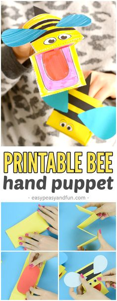 Printable Bee Puppet Paper Craft for Kids to Make