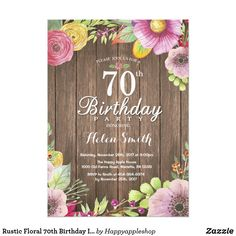 "Rustic Floral Surprise Birthday Invitation for Women. For further customization, please click the ""Customize it"" button and use our design tool to modify this template. Surprise 30th Birthday, 70th Birthday, Women Birthday, Birthday Celebration, Birthday Wishes, Birthday Parties, Happy Birthday, 90th Birthday Invitations, Birthday Background"
