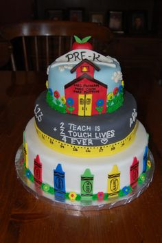School and Crayon Cake