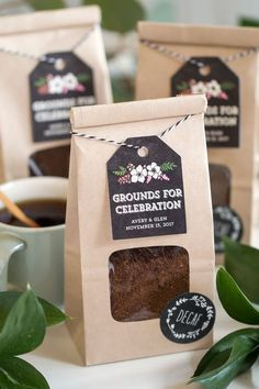 Grounds for Celebration: Coffee Wedding Favors || Use coffee grounds as wedding favors. Includes cute kraft packaging. Just tie a tag and put a label.