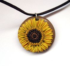 Sunflower Polymer clay Pendant/ jewellery by Artgijewelry on Etsy, $15.00