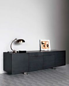 potocco italy | noir sideboard | new item Design: Paolo Martinig. Server in Ash wood with 4 doors and optional cutlery trays which are accessed from the top of the unit.