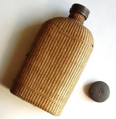 Antique French Flask Basket Straw Wrapped Flask Circa 1800s via Etsy
