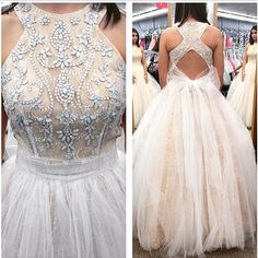 White Long Prom Dress, 2017 White Long Prom Dress, Long Open Back Prom Dress with Ribbon