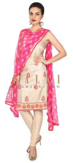 Buy Online Beige unstitched adorn in resham embroidered butti only on Kalki