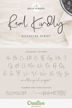 Real Kindly is a handwritten typeface coming with Regular and Bold versions. Its casual look makes it the perfect fit for signature logos, printed quotes, wedding invitation cards, social media headers, product packaging and a lot more! (affil)