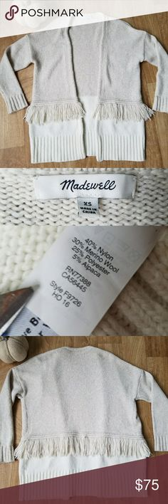 Madewell  XS/Small Colorblock Fringe Cardigan Open Cardigan Design  Oversized fit, could easily fit a small or even a medium Two toned Unique Madewell Sweaters Cardigans