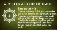 What Does Your Birth Date Mean?- Born on the You just want to look great and you possess a great fashion sense. You love to make new friends and you have a funny side to your personality. You are an easygoing person and you are never tied up on thing Free Love Tarot Reading, Dating Meaning, Believe In God, Make New Friends, Love Life, Positive Vibes, Meant To Be, First Love, Personality