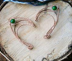 Copper elf earcuffs with icy green beads, elf ear cuffs, elven earcuffs , statement earrings, woodland, vulcan ears ,green, elegant, LARP