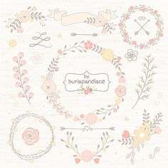 Check out Wreath flower clipart by burlapandlace on Creative Market