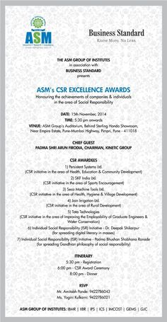 ASM's CSR Excellence Awards :- Corporate Social Responsibility Awards at ASM Group of Institutes on 15th November from 5.30 pm onwards. #CSR #CSRAwards #ASM