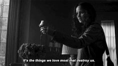 """""""Miss Everdeen, sometimes it's the things we love most that destroy us."""" ~President Snow, Mockingjay"""