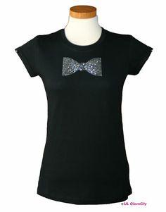 T- Shirt, schwarz, Strass- Fliege von U.L. GlamCity auf DaWanda.com