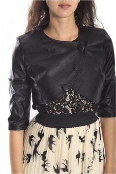 Rinascimento Black Short Jacket In Faux Leather, Art CFC0069654003 ...