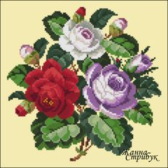 Gallery.ru / 221216 - 221216 - pustelga Cross Stitch Rose, Cross Stitch Flowers, Cross Stitch Patterns, Acrylic Painting Flowers, Crochet Cross, Bunch Of Flowers, Needlepoint, Floral Wreath, Arts And Crafts