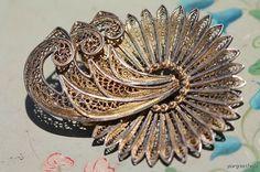 Vintage Gold Washed Sterling Silver Filigree Brooch Pin