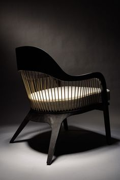 Lanka Chair. Solid Mahogany, burned oak veneer and steel. Reda Amalou Design.