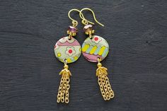 Colorful Flower Chain Tassel Earrings with by MusingTreeStudios