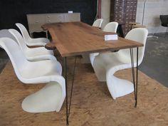 From  the archives, live wood edge on sputnik legs #terrydesign #industrialdesign #tabledesign