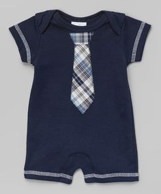 This Too Sweet Navy Plaid Tie Romper - Infant by Too Sweet is perfect! #zulilyfinds