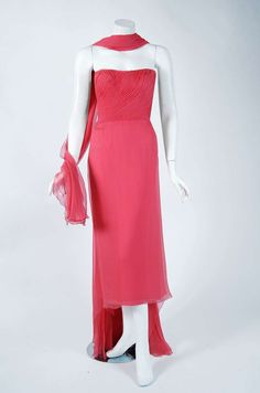 1950's Irene Lentz Coral-Pink Pleated Silk Strapless Floral-Applique Dress Gown | From a collection of rare vintage evening dresses at https://www.1stdibs.com/fashion/clothing/evening-dresses/