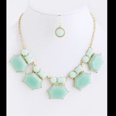 Mint Green Jewel Statement Necklace Set Acrylic mix. Necklace / earring set. Mint green. Adjustable. NEW. Boutique  Jewelry Necklaces
