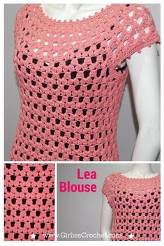 Crochet blouse. FREE crochet pattern for small/med and med/large. Could easily be made into a plus sized, XL