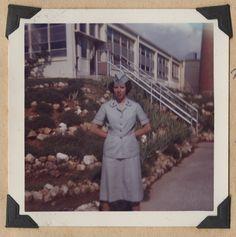 Dora Ann DeHart Atha outside mess hall, Fort McClellan, Alabama, 1961 - The Betty H. Carter Women Veterans Historical Project - University Archives - UNCG University Libraries