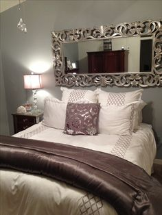 Home Decor - Bedroom Decor Nice use of the mirror to take away from no headboard bed; grey, silver, plum                                                                                                                                                     More