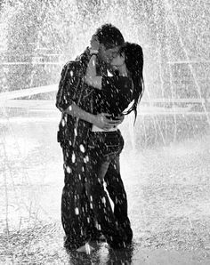A passionate kiss in the rain