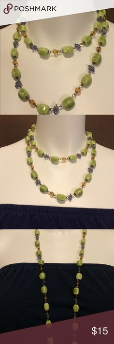 Pretty Chunky Mixed Bead Necklace! Green glass beads mixed with warm Amber and Lavender accent beads. Stainless steel findings. Bar clasp. TheCraftyVolPhan Jewelry Necklaces
