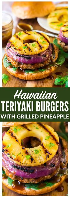 Hawaiian Teriyaki Burgers with Grilled Pineapple and Onion. Juicy teriyaki burger patties made with ground chicken or turkey, glazed with an easy homemade teriyaki burger sauce. Simple, healthy, and delicious! Recipe at wellplated.com | @wellplated