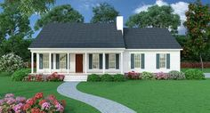 Sutherlin Small Ranch 5458 - 3 Bedrooms and 2.5 Baths | The House Designers