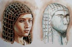 This is a reconstruction of what the original Venus of Brassempouy may have looked like.   The artist has imagined a heavy net over the hair, giving the effect of both a hat and braided hair.   Artist: Illustration © Libor Balák  Photo: http://www.iabrno.cz/agalerie/gravett.htm