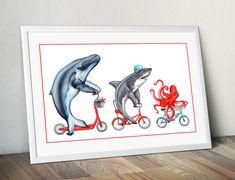 Baleine à bosse, requin et pieuvre à bicyclette, animaux de la mer à vélo, affiche 12 x 18