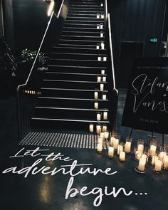 The entry from Vanessa + Stefan's wedding at / Featuring our Assorted Candle Cylinders, LED Wax Candles + Black Easel. Floor decal designed by Wedding Ceremony Ideas, Fall Wedding, Our Wedding, Wedding Venues, Dream Wedding, Wedding Entrance, Edgy Wedding, Wedding Updo, Black Candles