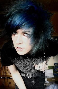 Black Blue Scene Emo for Guys