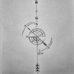 Viking Compass Tattoo, Arrow Compass Tattoo, Compass Tattoo Design, Map Tattoos, Music Tattoos, Forearm Tattoos, Tattoo Drawings, Lizard Tattoo, Alien Tattoo